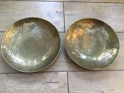 2   vintage Brass Chinese bowls dishes