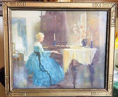 Antique Victorian Print Aristocratic Lady On Piano Mission Arts Crafts Frame