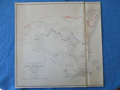"""1958 Civil War Map of """"Siege of Yorktown, April & May 1862"""" Both Army Positions"""