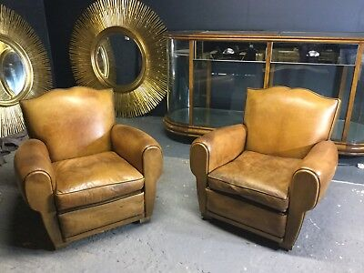 A Pair Of French Moustache Back Leather Club Chairs In Great Condition