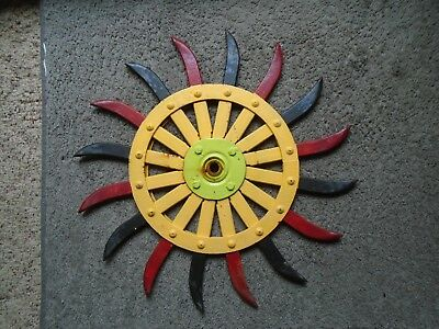 Vintage Farm Tractor Iron Rotary Cultivator Wheel Steam Punk Painted Iron Art