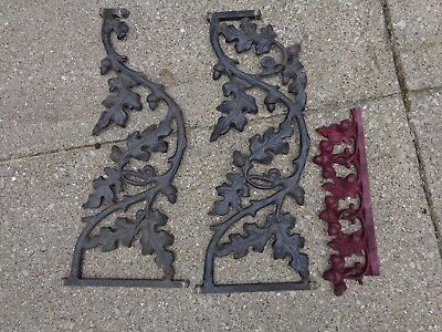 Vintage Cast Iron Oak Leaf & Acorn Design Architectural Salvage railing 3 LOT
