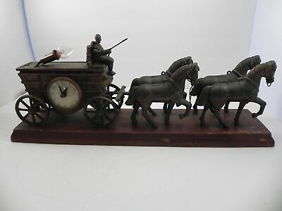 United Horse and Carriage Electric Mantle Clock Lamp Covered Wagon