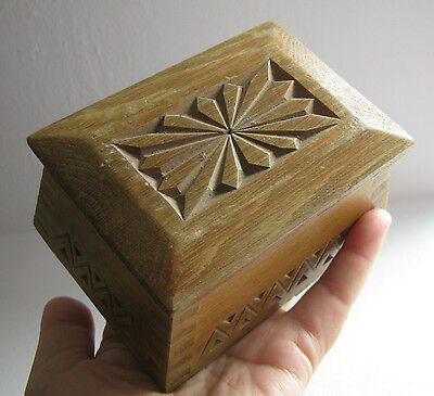 BOX >  Antique  vintage wooden hand carved  box with lid   folk art carving