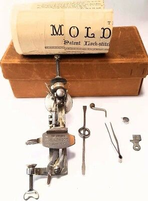 WoW ! Antique mini Sewing Machine MOLDACOT+box+instructions 1886