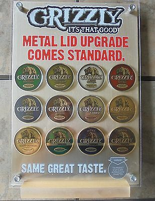 Super Nice Grizzly Snuff 12 Lid Counter Display  New/in Box