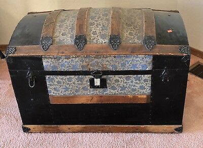 Vintage 1800's Metal Inlay Camel Back Steamer Trunk - Chest (Extremely Rare)