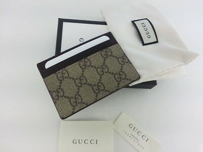 586f12108 AUTHENTIC GUCCI MENS GG Supreme Canvas Leather Card Case Card Holder ...