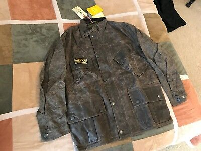$649 Barbour x Deus Ex Machina horace wax coated waxed moto jacket L mens NEW