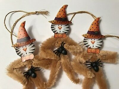 Chenille Halloween ornaments, vintage CAT, feather tree ornaments, tags