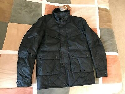 $499 Barbour black trail quilt wax coated quilted moto waxed jacket S mens NEW