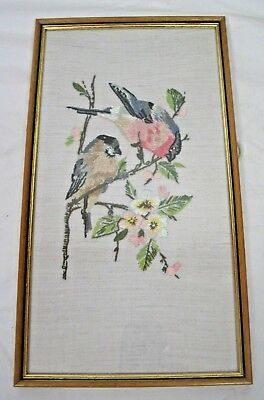 Framed floral tree branch pair of Bullfinches birds embroidery scene