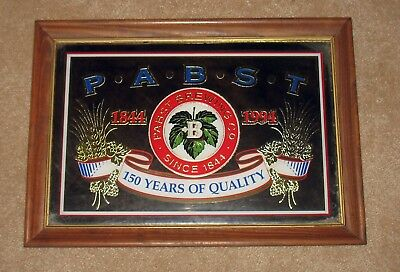 Pabst Blue Ribbon Beer 150 Years Wooden Frame Mirror Sign Man Cave 1994