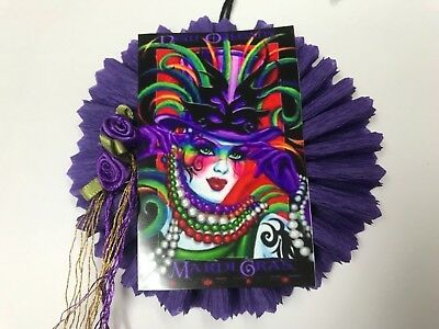 Paper doll MARDI GRAS, mask, beads,  gift tags ornaments, feather tree item #29