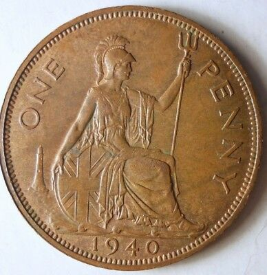 1940 GREAT BRITAIN PENNY - High Quality Coin - FREE SHIP - Britain Bin L
