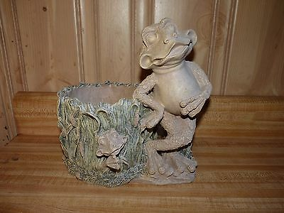 Vintage Cross Legged Casual Frog planter & statue, home or garden use,decor