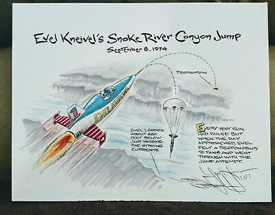 Evel Knievel 1974 Shake River Canyon Original Drawing By Larry Gosser #1of 1