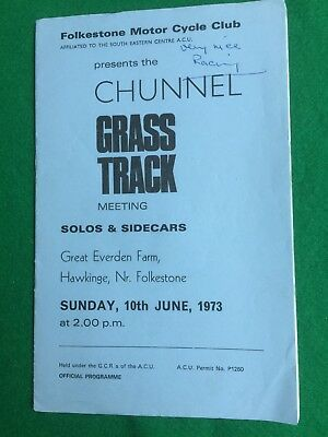 Grass track racing programme Folkstone 10th June 1973