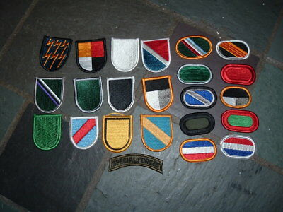 Lot of 23 Vietnam era Special Forces beret flashes & jump wing ovals
