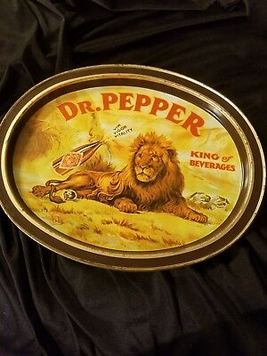 """15""""Vintage 1979 Dr Pepper Lion King of Beverages Oval Soda Advertising Tin Tray"""