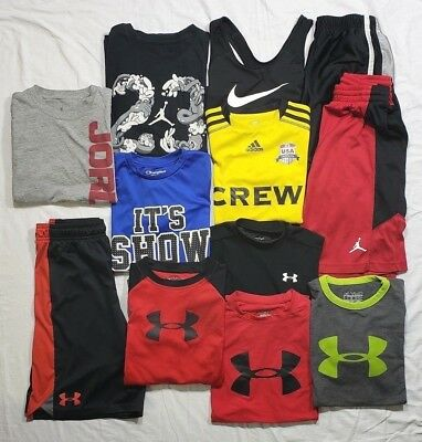 Lot of 12 Shirts and Shorts  Under Armour Nike Champion Adidas Boys Medium