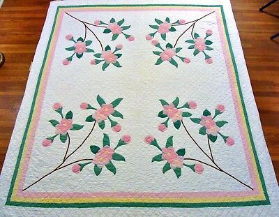 """Vintage Handmade Hand Stitched Pink Green Yellow Floral Applique Quilt 92"""" x 82"""""""
