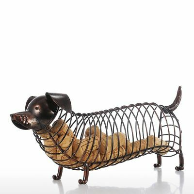 Tooarts Dachshund Wine Cork Container Iron Craft Animal Ornament Art Brown A2I5