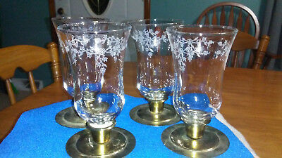 4 CLEAR ETCHED flower IVY VINE GLASS HOMCO HOME INTERIORS CANDLE VOTIVE cups lot