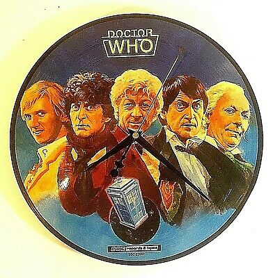 Reverse Face Vintage Era Doctor Who Quartz Wall Clock Made From A Record