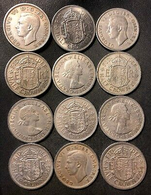 Vintage Great Britain Coin Lot - 12 Great Half Crowns  - Lot #J10