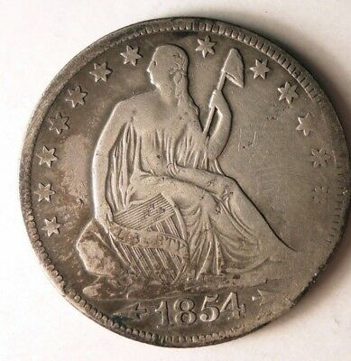 1854 O UNITED STATES HALF DOLLAR - RARE- High Quality Silver Coin - Lot #J10