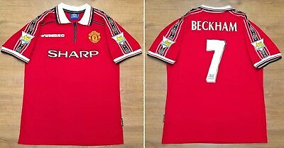 Manchester United 1998 1999 Retro Football Shirt Man Utd Jersey BECKHAM 7 - M L
