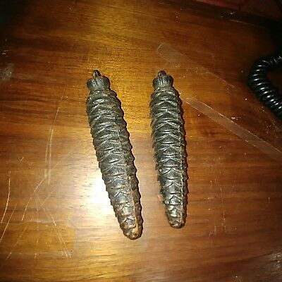 "Lot of 2 Vintage Cuckoo Clock Pinecone Weights, 5"" long,"