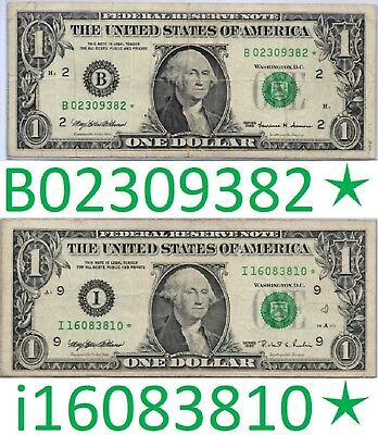 Star Notes B02309382 1999 & i16083810 1995 One Dollar $1 Bills Unique Currency 1