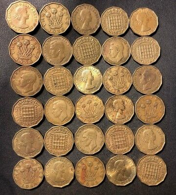 Vintage Great Britain Coin Lot! 1937-1967 - 3 PENCE - 30 Excellent Coins - #J10