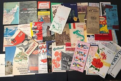 Vintage Lot Travel Brochures Maps Europe New York Airline Routes Paper Ephemera