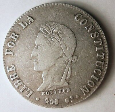 1863 BOLIVIA 8 SOLES - EXCELLENT - RARE Hard to Find Silver Crown Coin - Lot J10