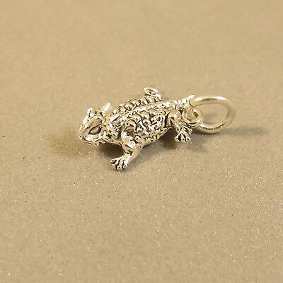 .925 Sterling Silver 3-D Tiny HORNED TOAD CHARM NEW Pendant Texas Frog 925 AN96