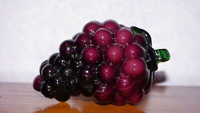 Vintage Murano Italy Purple Grapes 1960s Hand Blown Glass Italian Life Size