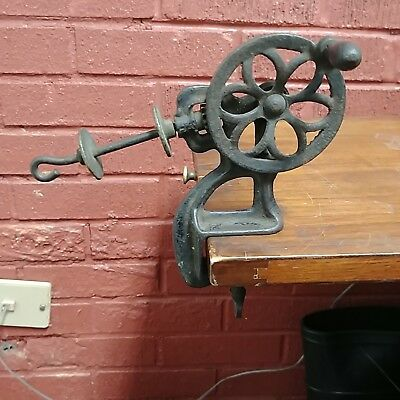 Antique  Cast Iron Hand Crank Thread Yarn Bobbin Winder