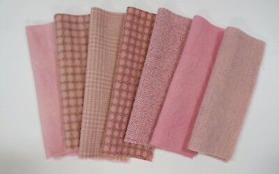 Pink Wool Fabric - Hand Dyed Felted Wool by Quilting Acres