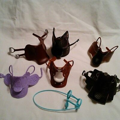 Mixed Lot toy saddles for play horses Kid Kore Barbie Western English Riding