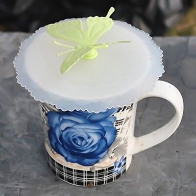 1X Anti-dust Cartoon Butterfly Silicone Glass Cup Cover Mug Suction Seal Lid Cap