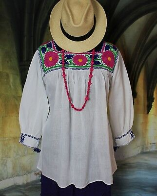 Mexican Hippie Peasant White Hand Embroidered Blouse Blusa Bordada