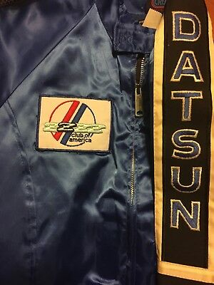 Rare Vintage Datsun Racing jacket, New Old Stock, Pearl Blue Satin Z Club Jacket
