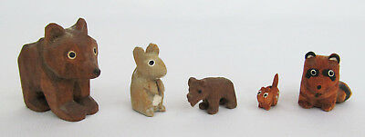 Old Hand Carved Wood Lot of 5 Mini Bear Chipmunk Mouse Raccoon Figures - Cute!