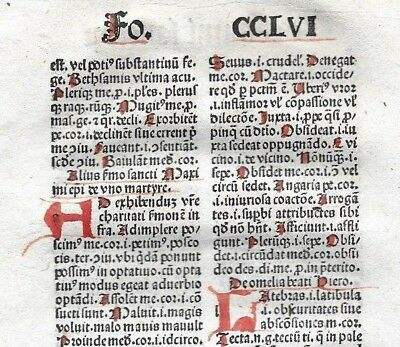 1 Leaf 1494 Incunabula Medieval Latin MAMMOTRECTUS  & 5 Red Handwritten Letters