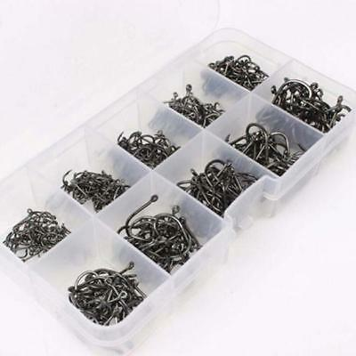 Fishing Box Perforated 500Pcs Hooks Assorted Sharpened Hook Lure Tackle Bait TO