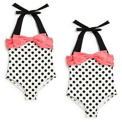 Baby Toddler Girls Fashion Swimwear Bowknot Polka Dots Bikini Kids Swimsuit 2-3Y