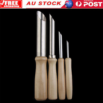 AU 4pcs DIY Clay Hole Cutters Pottery Clay Sculpture Carving Sculpting Hand Tool
